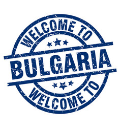 Welcome to bulgaria blue stamp vector