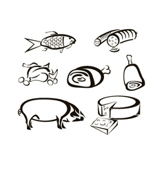 Icons of food meats cheeses vector