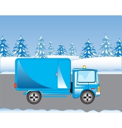 Car on road in winter vector