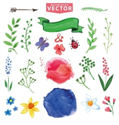 Watercolor floral decor branchesflowers set vector