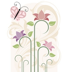 Card with flowers illustration in vector vector