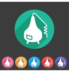 Distillation apparatus icon flat web sign symbol vector