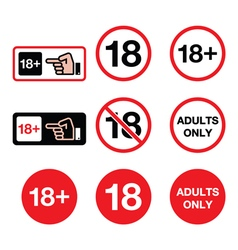 Under 18 adults only warning sign vector
