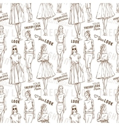 Fashion pattern trendy look girls vector