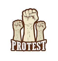 Raised fist held in protest vector