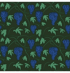 Seamless pattern with bunches and leaves of grapes vector