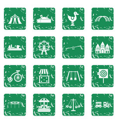 Amusement park icons set grunge vector