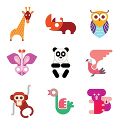 animal icon set vector image vector image