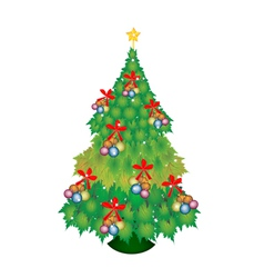 Baubles and bow on christmas tree of green maple vector