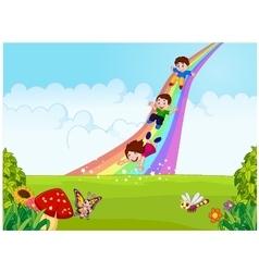 Cartoon little kids playing slide rainbow in the j vector