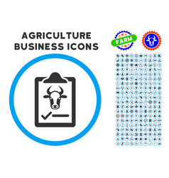 Cattle contract rounded icon with set vector