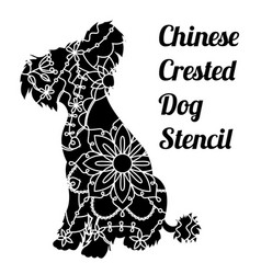 Chinese crested dog stencil vector