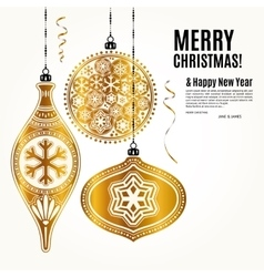Christmas card with golden ornamental xmas balls vector image