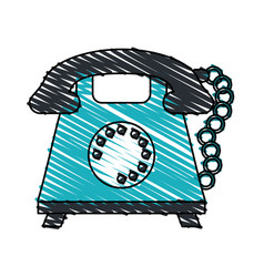 Color crayon stripe cartoon retro telephone with vector