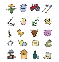 Colored Hand drawn Farm icon set vector image