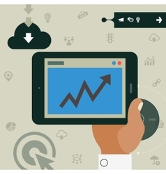 Concept of hand holding tablet with statistic app vector