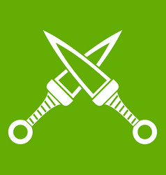 crossed japanese daggers icon green vector image vector image