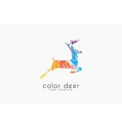 Deer logo design color deer animal logo vector