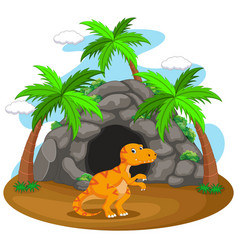 dinosaur in front of the cave vector image