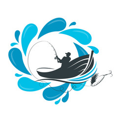 fisherman in a boat and a drop of water vector image