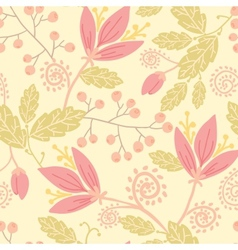 Flowers and berries seamless pattern background vector image