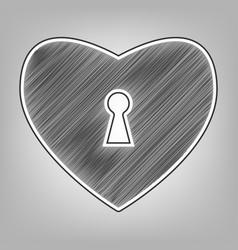 Heart with lock sign pencil sketch vector