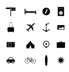 icon travel set vector image vector image
