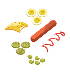 Ingredients for hot dog vector