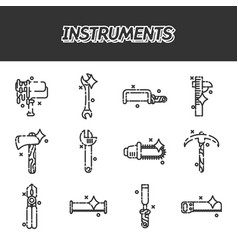 Instruments flat icons set vector