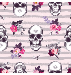 kitschy seamless pattern with human skulls and vector image