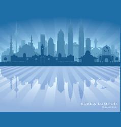 kuala lumpur malaysia city skyline silhouette vector image vector image