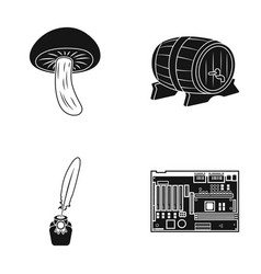 Mushroom wooden barrel and other web icon in vector