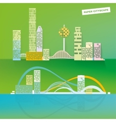 Paper city editable panoramic vector