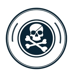Pirate skull symbol icon vector