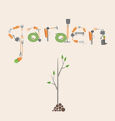 Postcard with a picture of the tools for garden vector image