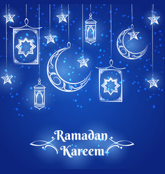 Ramadan kareem blue background design vector