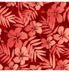 Red tropical flowers and leaves seamless pattern vector