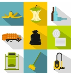 Rubbish icons set flat style vector image