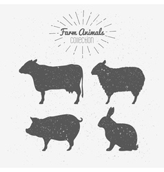 Set of farm animals silhouetts vector