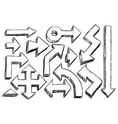 Set of sketchy hatched arrows doodles vector