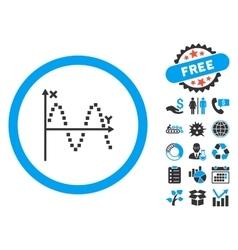 Sine plot flat icon with bonus vector