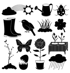 Spring season icons collection vector