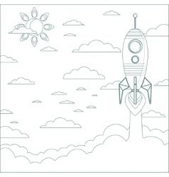 Stock of a Cartoon Flying Rocket Contour vector image