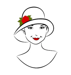 vintage girl face in hat with rose- vector image vector image