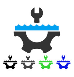 Water service gear flat icon vector
