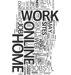 work at home online jobs text word cloud concept vector image vector image