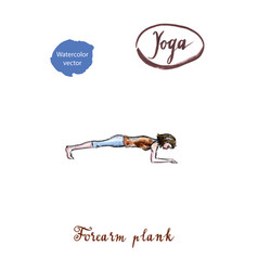 Young woman doing forearm plank pose in yoga vector