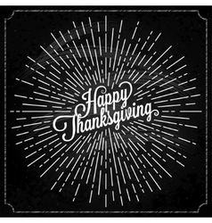 Thanksgiving with sunburst on black background vector