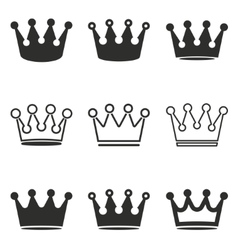 Crown icon set vector image