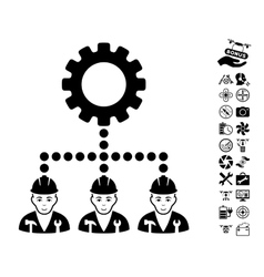 Service staff icon with copter tools bonus vector